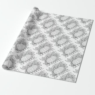 Papel De Regalo Línea diseño de la escena de la calabaza de la