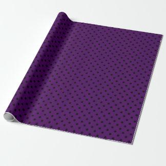 Papel De Regalo Lunares púrpuras y negros medios