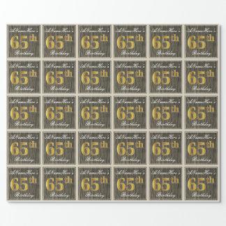 Papel De Regalo Madera elegante, falsa, 65.o cumpleaños del falso
