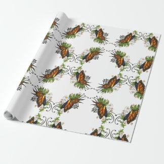 Papel De Regalo mariposa con verde