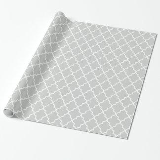 Papel De Regalo Marroquí gris claro y blanco moderno Quatrefoil
