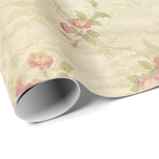 Papel De Regalo Modelo apenado de la tela de los rosas del vintage