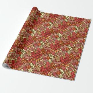 Papel De Regalo Modelo azteca tribal abstracto rojo