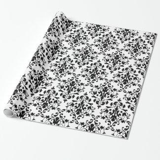 Papel De Regalo Modelo blanco y negro elegante del damasco