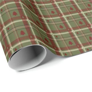 Papel De Regalo Modelo de la tela escocesa del navidad en rojo y
