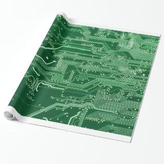 Papel De Regalo modelo electrónico verde del ordenador de placa de