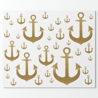 Papel De Regalo modelo femenino de las anclas de oro náuticas