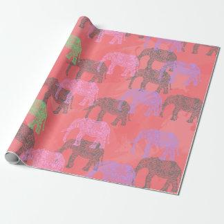 Papel De Regalo modelo floral tribal colorido del elefante