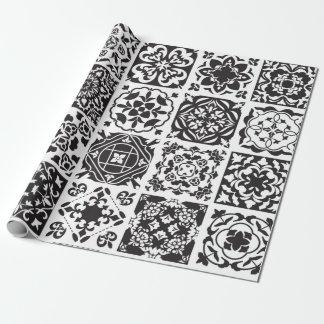 Papel De Regalo Modelo geométrico blanco y negro moderno de la