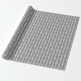 Papel De Regalo Modelo gris y blanco de la fan de Deco del vintage