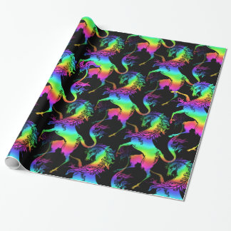 Papel De Regalo Modelo heráldico del arco iris del unicornio
