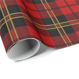 Papel De Regalo Modelo rojo de la tela escocesa de tartán de