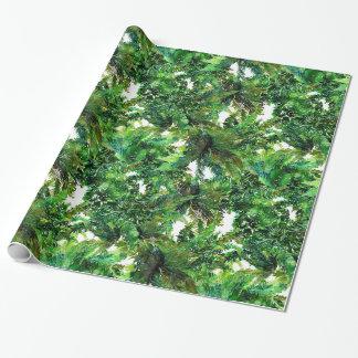 Papel De Regalo Modelo verde de la caída del bosque del helecho de