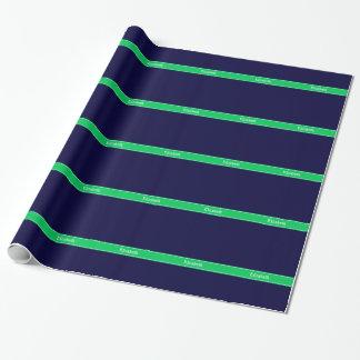 Papel De Regalo Monograma sólido del nombre de la cinta del verde