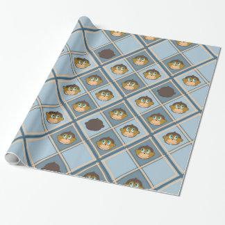 Papel De Regalo Monos sonrientes modelo, muchacho, azul