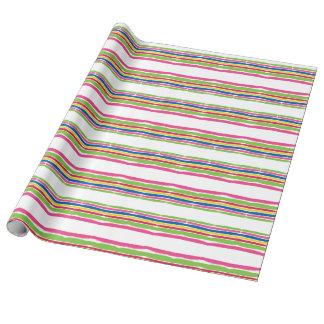 Papel De Regalo Movimientos coloridos de la acuarela, rayas del