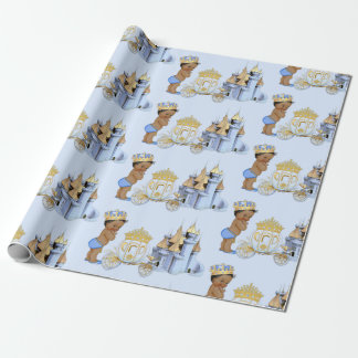 Papel De Regalo Muchacho real de príncipe Castle Carriage Blue