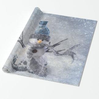 Papel De Regalo Muñeco de nieve del navidad blanco