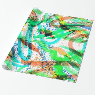 Papel De Regalo Naranja de neón del verde azul de la salpicadura
