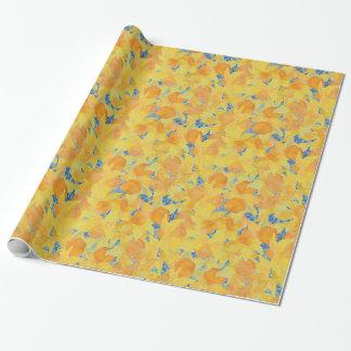 Papel De Regalo Narcisos amarillos de oro en fondo azul