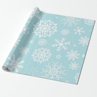 Papel De Regalo Navidad blanco azul del copo de nieve del invierno