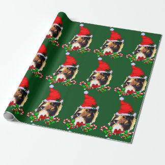 Papel De Regalo Navidad de Sheltie Santa