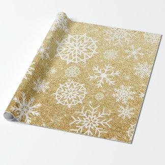 Papel De Regalo Navidad del brillo del oro del copo de nieve del