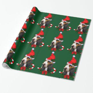 Papel De Regalo Navidad del gorra de Basset Hound Santa