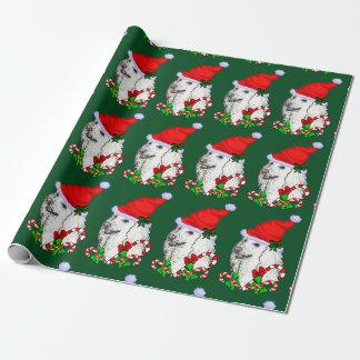 Papel De Regalo Navidad del gorra de Santa del caniche