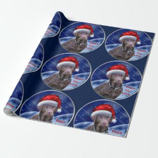 Papel De Regalo Navidad del labrador retriever del chocolate