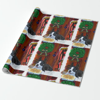 Papel De Regalo Navidad del perrito de Boston Terrier