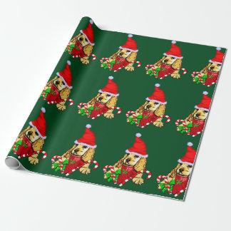 Papel De Regalo Navidad del perrito de cocker spaniel