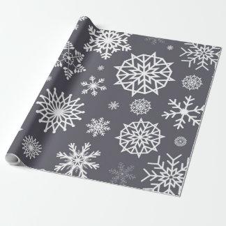 Papel De Regalo Navidad gris del festival del copo de nieve blanco