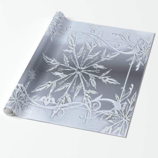 Papel De Regalo Navidad maravilloso, plata, copos de nieve de