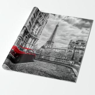 Papel De Regalo Negro, blanco y rojo de la torre de Eiffle