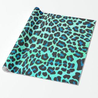 Papel De Regalo Negro del leopardo e impresión verde azulada