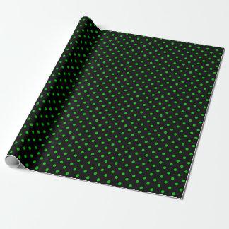 Papel De Regalo Negro y lunares verdes de neón