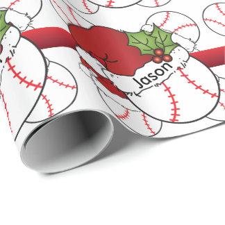 Papel De Regalo Nombre del béisbol el | DIY del navidad del gorra