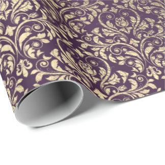 Papel De Regalo Novia púrpura del metal del oro del ciruelo de la