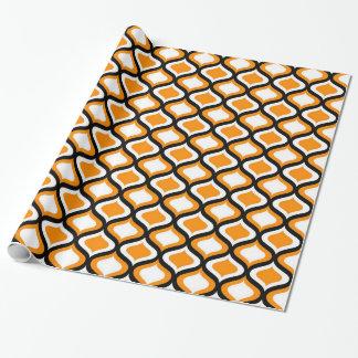 Papel De Regalo Ogee negro y anaranjado