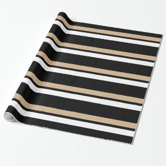 Papel De Regalo Oro negro y rayas horizontales blancas Giftwrap