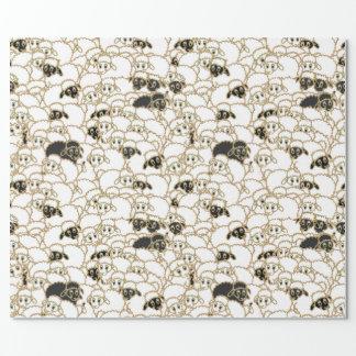 Papel De Regalo ovejas, multitud enorme blanco y negro