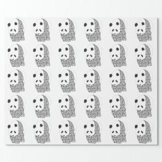 Papel De Regalo Panda con los rosas del tatuaje