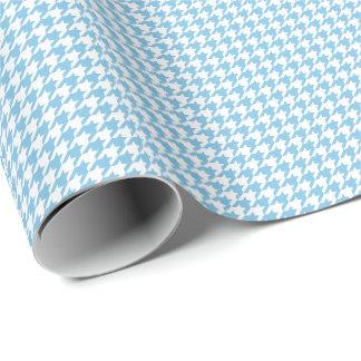 Papel De Regalo Pequeño Houndstooth azul claro y blanco