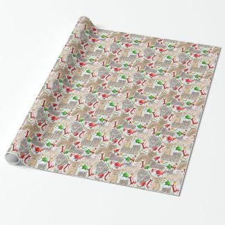 Papel De Regalo Perritos adorables del navidad del vintage para