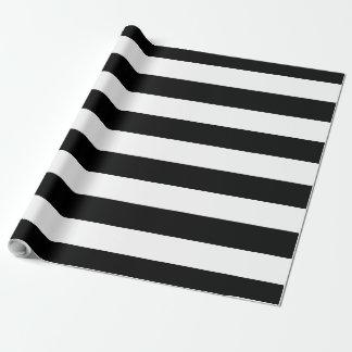 Papel De Regalo Personalizable rayado grande negro y blanco del |