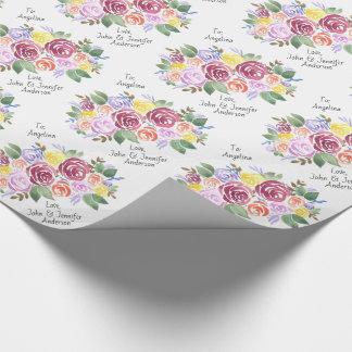 Papel De Regalo Personalizado color de rosa floral del ramo a y