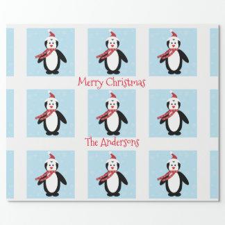 Papel De Regalo Pingüino lindo en navidad de un gorra de Santa