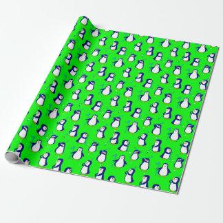 Papel De Regalo Pingüinos Golfing en verde lima