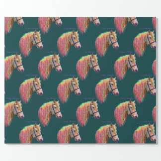 Papel De Regalo Potro, colores del arco iris. Feliz cumpleaños